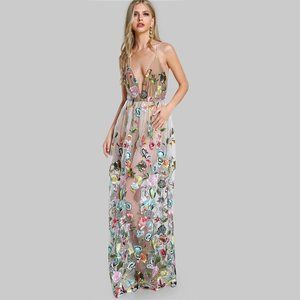 SHEIN Embroidered Mesh Overlay Maxi Dress- XS